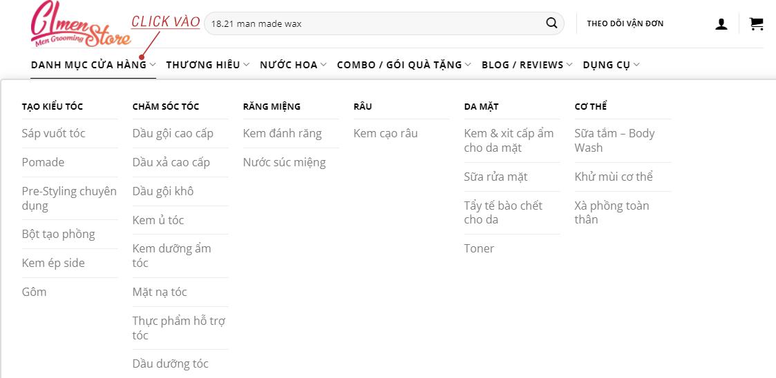Hướng dẫn đặt hàng trên website CL Men's Store